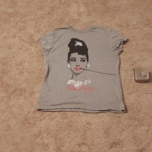 Audrey Hepburn portrait scoop neck tee